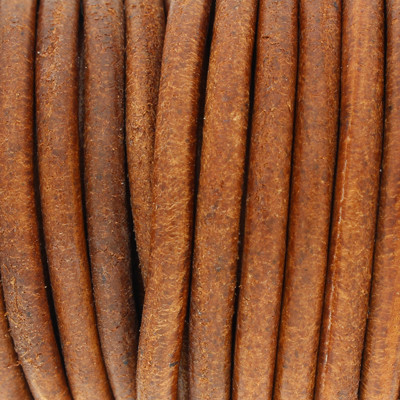 Rundriemen, Lederschnur, 100cm, 5mm, VINTAGE COGNAC dunkel
