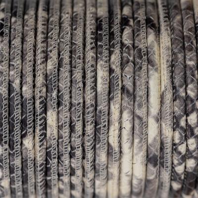 Nappaleder rund gesäumt, 100cm, 2,5mm, CREME-GRAU Schlangenprägung