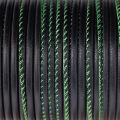 Nappaleder rund gesäumt, 100cm, 4mm, SCHWARZ Kontrastnaht Neon Grün