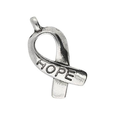 """Anhänger, Schleife """"Hope"""", 18x7,5mm, antik-silberfarben, Metall"""