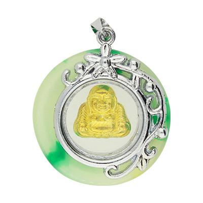 Anhänger, Buddha, 29x25x8mm, grün, gold und platinfarben, Metall
