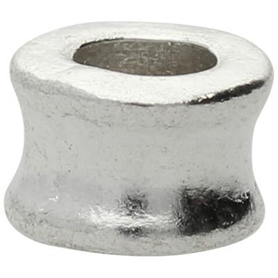 Großlochperle (2 Stück), innen 4,5mm, 8x5mm, antik-silberfarben, Metall