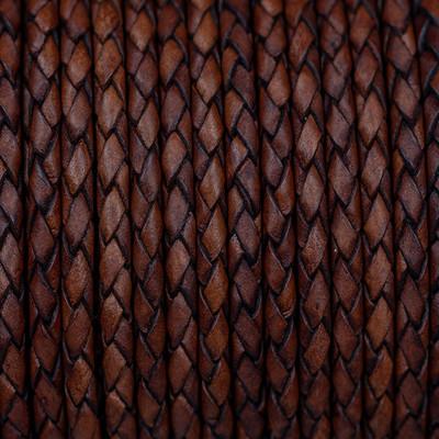Lederband rund geflochten, 100cm, 6mm, VINTAGE MINK