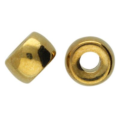 Großlochperle (2 Stück), innen 4,5mm, 11,5x7,5mm, goldfarben, Acryl