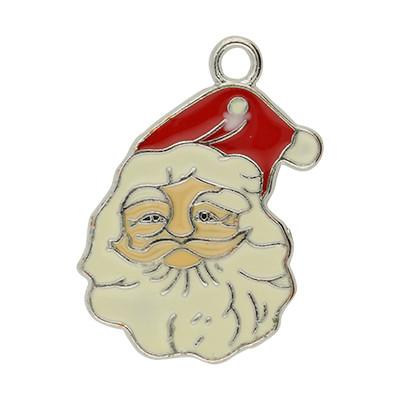 Anhänger, Weihnachtsmann, 34x23mm, silberfarben, Metall