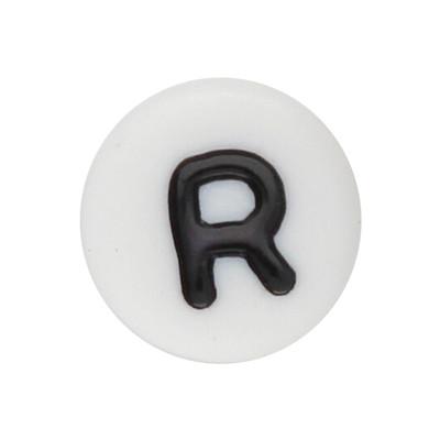Acrylbuchstabe R (10 Stück), innen 1mm, 7x4mm, schwarz-weiß