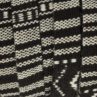 Ethnoband aus Baumwolle, 100cm, 10mm Flachriemen, SCHWARZ-WEISS