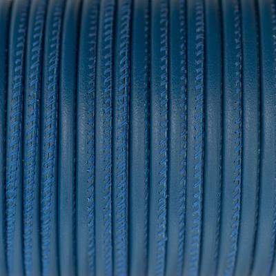 Premium Nappaleder rund gesäumt, 100cm, 4mm, AZURBLAU
