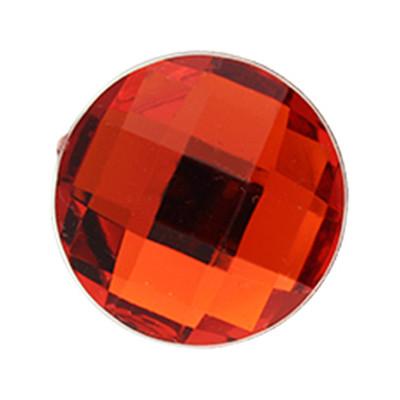 Cabochon, rund, 5 Stück, 20x5,5mm, rot, glatte Rückseite