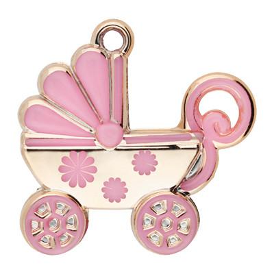 Anhänger Kinderwagen, 39x39x10, Öse 4mm roségoldfarben-rosa, Acryl