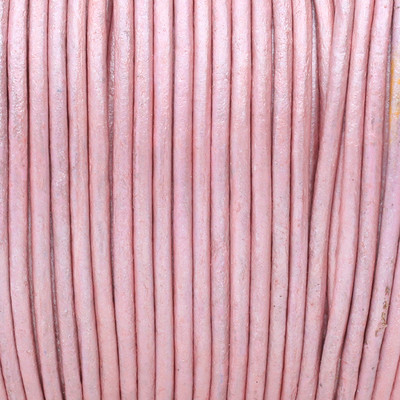 Rundriemen, Lederschnur, 100cm, 3mm, METALLIC BABYROSA