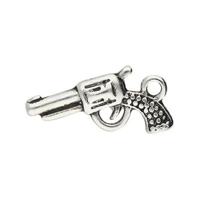 Anhänger, Revolver, 22x12mm, silberfarben, Metall