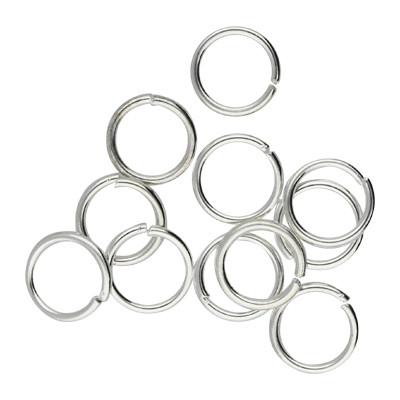 Bindering, rund, 10 Stück, 8mm, innen 6mm, Metall, silberfarben