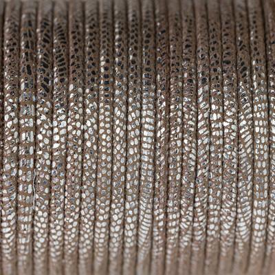 Nappaleder rund gesäumt, 100cm, 4mm, SILBER Echsenprägung