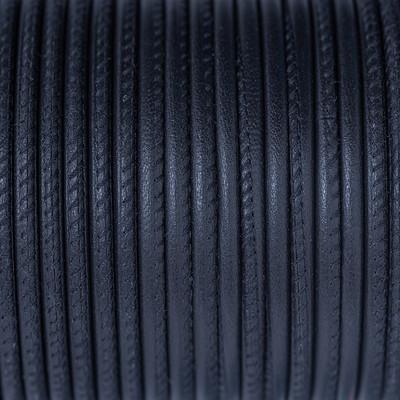 Premium Nappaleder rund gesäumt, 100cm, 4mm, NAVY