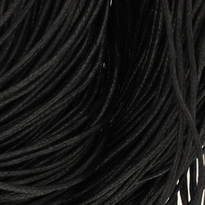 Gewachstes Schmuckband aus Baumwolle, 100cm, 2mm breit, schwarz