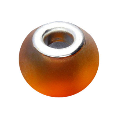 Grosslochperle, innen 5mm, 15x12mm, Glas, matt, Orange