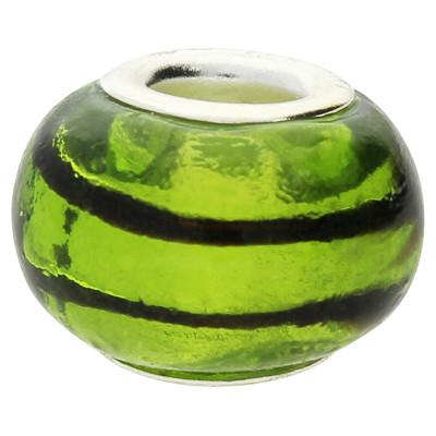 Großlochperle, innen 5mm, 14x9mm, sommer grün, Metall