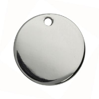 Anhänger (Plättchen), rund, Ø 8x1mm, Metall