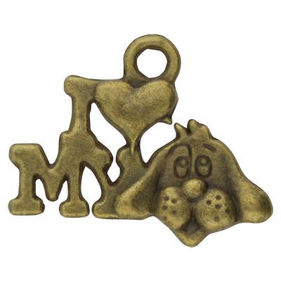 Anhänger, I love my Dog, 18x13x2mm, bronzefarben, Metall