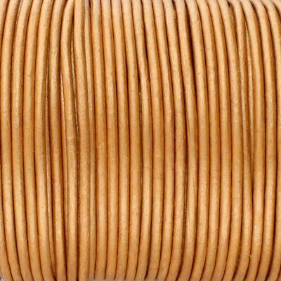 Rundriemen, Lederschnur, 100cm, 2mm, METALLIC COGNAC