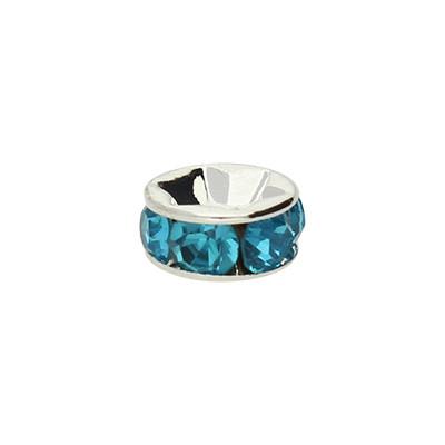 Straßperle, innen 1,2mm, 7x3,2mm, blau, Metall