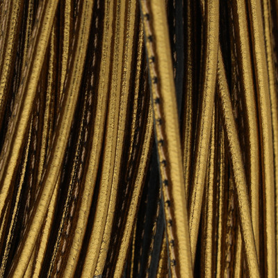 Nappaleder oval gesäumt, 100cm, 3.5 x 2mm, METALLIC BRONZE
