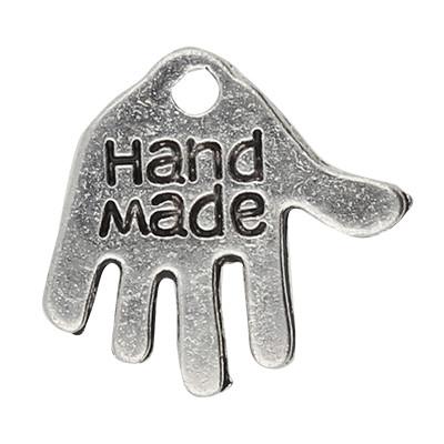 """Anhänger, Hand """"Hand Made"""", 13x12mm, antik-silberfarben, Metall"""