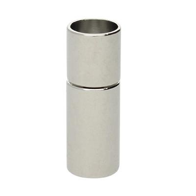 Steckverschluss, 20x7mm, innen 6mm, Metall, silberfarben