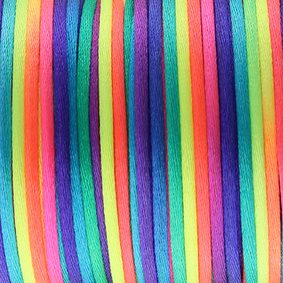 Satinband, Satinkordel, rund (100cm), 2,0mm breit, multicolor, neonfarben