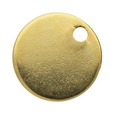Anhänger / Plättchen, rund, Ø 10mm, goldfarben, Edelstahl