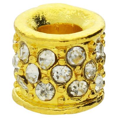Großlochperle mit Straßsteinen, innen 4,5mm, 11x10mm, goldfarben, Metall