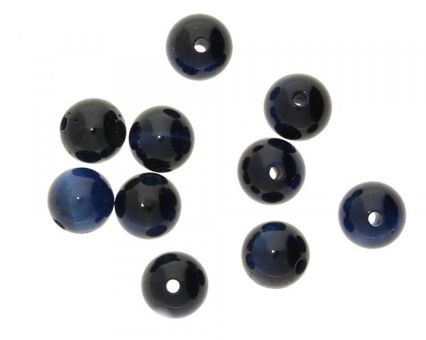 Perle, innen 1mm, Ø 6mm, Tigerauge (Halbedelstein), dunkelblau
