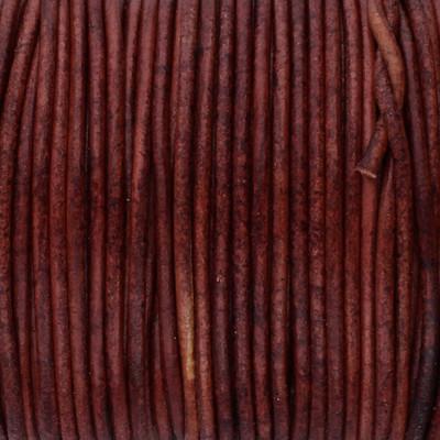 Rundriemen, Lederschnur, 100cm, 1mm, VINTAGE ROTBRAUN