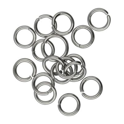 Bindering, rund, 10 Stück, 5mm, innrn 3,5mm, Edelstahl, platinfarben