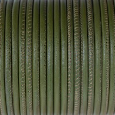 Nappaleder rund gesäumt, 100cm, 4mm, OLIVGRÜN