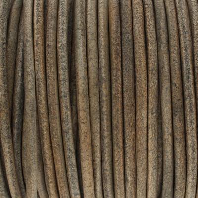 Rundriemen, Lederschnur, 100cm, 3mm, Vintage GRÜNGRAU meliert