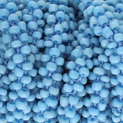 Handgeknoteter Perlenstrang, 6mm, hellblau, Länge 50cm