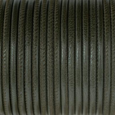 Nappaleder rund gesäumt, 100cm, 4mm, ARMEE GRÜN