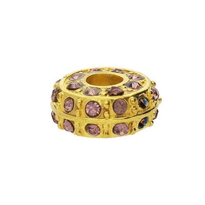 Großlochperle mit Straßsteinen, innen 5mm, 14x9mm, rosé, Metall