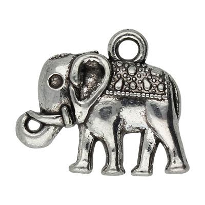 Anhänger, Elefant, 15x14x3mm, antik-silberfarben, Metall
