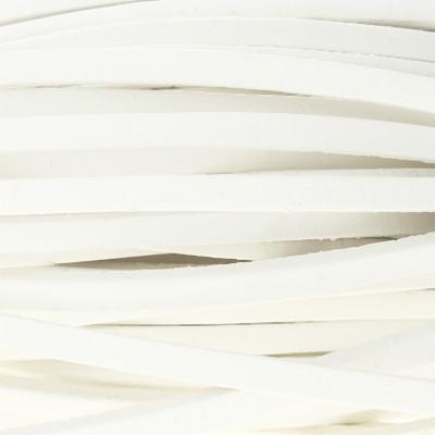Flachriemen Rindsleder, 100cm, 5x2mm, WEISS