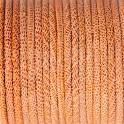 Nappaleder rund gesäumt, 100cm, 4mm, ANTIK ORANGE Echsenprägung