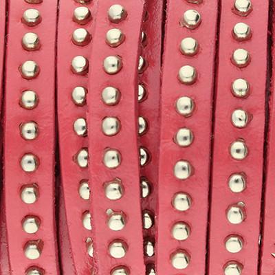 Flachriemen, Rindsleder mit Nieten, 5,0 x 2,0mm, Korallenrot