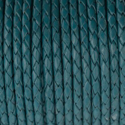 Lederband rund geflochten, 100cm, 4mm, TINTENBLAU