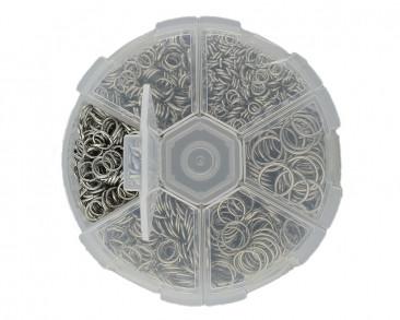 Box mit verschiedenen Binderingen, Ø 4mm, 5mm, 6mm, 7mm, 8mm & 10mm, Metall, antik silberfarben