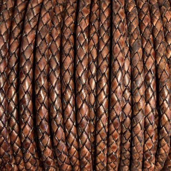 Premium Lederband rund geflochten, 100cm, 6mm, ANTIK ROTBRAUN meliert