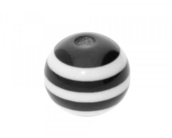 Perle,10x9mm, innen 1,8mm, schwarz-weiss, Acryl