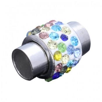 Magnetverschluss mit bunten Strasssteinen, 7mm, 18x13mm, Metall platinfarben