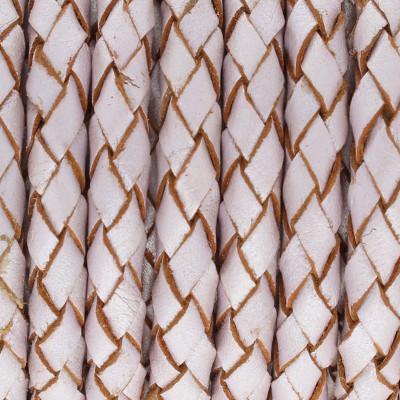 Lederband, rund geflochten, 100cm, 5mm, PERL-PASTELLVIOLETT